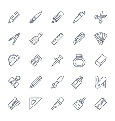 Stationery tools icon set thin line style vector image