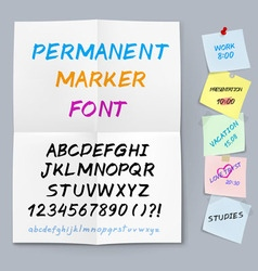Sticker paper permanent marker font vector