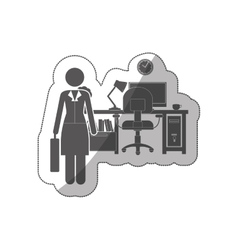 Sticker silhouette woman administrator in office vector