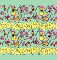summer background with jug of lemonade slices of vector image