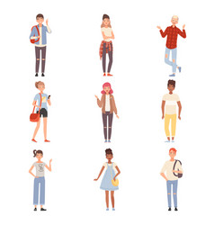 Teenagers in different poses flat vector