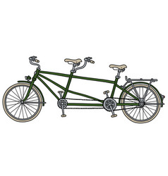 the classic green tandem bicycle vector image