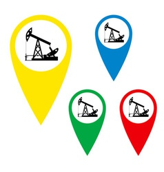 The silhouette of the oil pump on a map marker vector image