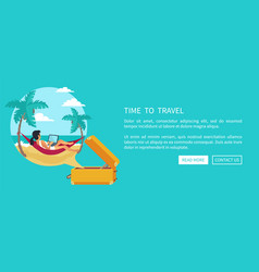 time to travel relaxing woman vector image