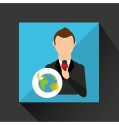Tv news weather reporter globe vector