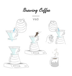 Types brewing coffee method v60 vector