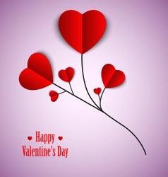 Valentine card with twig and red hearts template vector image