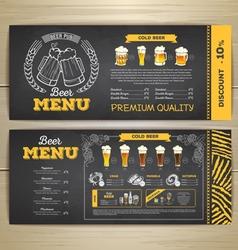 Vintage chalk drawing beer menu design vector image