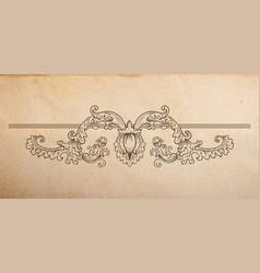 Vintage old paper texture with floral vignette vector