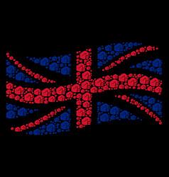 waving uk flag mosaic of fist items vector image