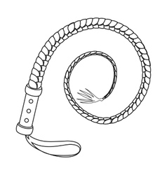Whip icon in outline style isolated on white vector image
