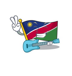 With guitar flag namibia cartoon with shape vector