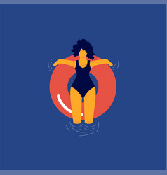 woman floating relaxing on red rubber ring vector image