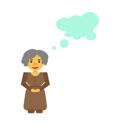 Woman with gray hair in dress with buttons a belt vector