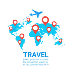 world travel by plane template banner airplane fly vector image