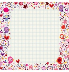 birds and flowers floral border vector image vector image