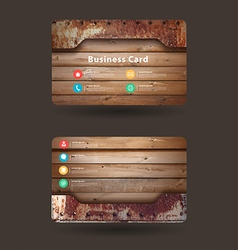 Business card template with wood texture vector