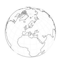 earth globe wireframe focused on europe vector image