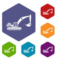 excavator icons set vector image