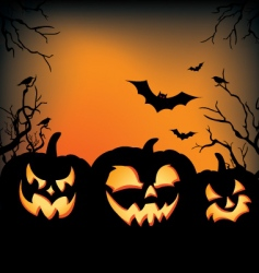 Halloween carved pumpkins vector image