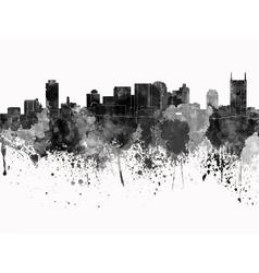 Nashville skyline in black watercolor on white vector image vector image