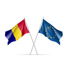 romania and european union waving flags vector image vector image
