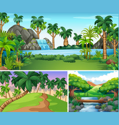 three scenes of river and waterfall vector image