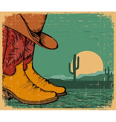 Western background with cowboy shoes and desert vector