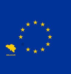 Eu flag with belgium country european union vector