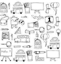 Hand draw background school doodles vector image