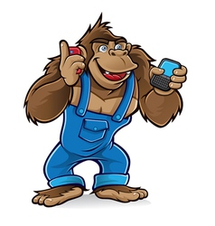 cartoon gorilla with mobile phones vector image vector image