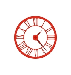 Elegant roman numeral clock icon flat style vector image