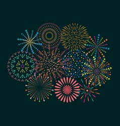firework icon set with petard stars festival and vector image