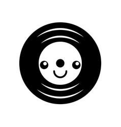 kawaii music vinyl disk vintage cartoon vector image