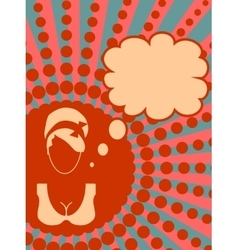 Banner with female face and thinking bubble vector image