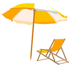 Beach chair and umbrella vector image