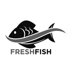 fresh fish market promotional black and white logo vector image vector image