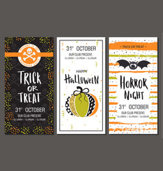 halloween party invitations vertical banners set vector image