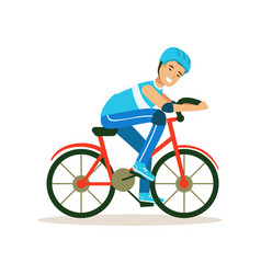 male cyclist character riding bicycle active vector image