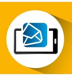 Mobile phone icon open envelope social media vector