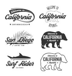 vintage monochrome California badges vector image