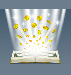 3d open book with bright rays bills nominal 100 vector