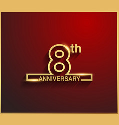 8 anniversary line style golden color vector