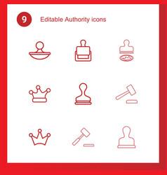 9 authority icons vector