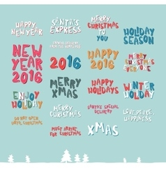 A large collection of Christmas greeting phrases vector image
