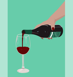 A woman pours red wine into glass vector