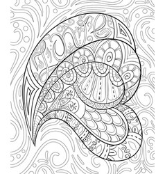 Adult coloring bookpage a valentines day heart vector