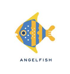 angelfish sea fish geometric flat style design vector image