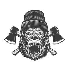Angry gorilla head in lumberjack hat vector