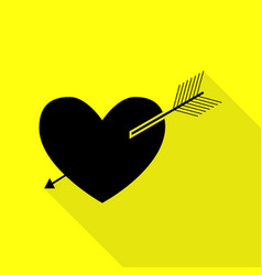 Arrow heart sign black icon with flat style vector